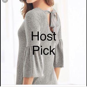 WHBM Bow- Back Sweater Knit Shift Dress